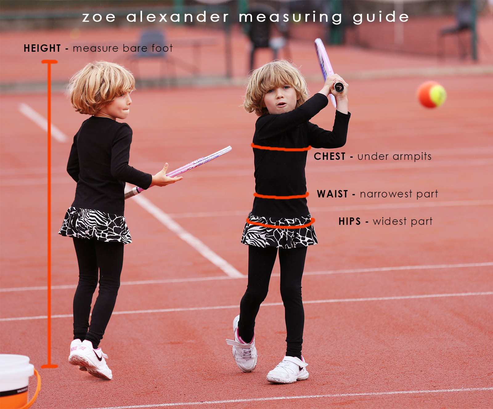 measuring size guide for tennis clothes for girls and boys zoe alexander
