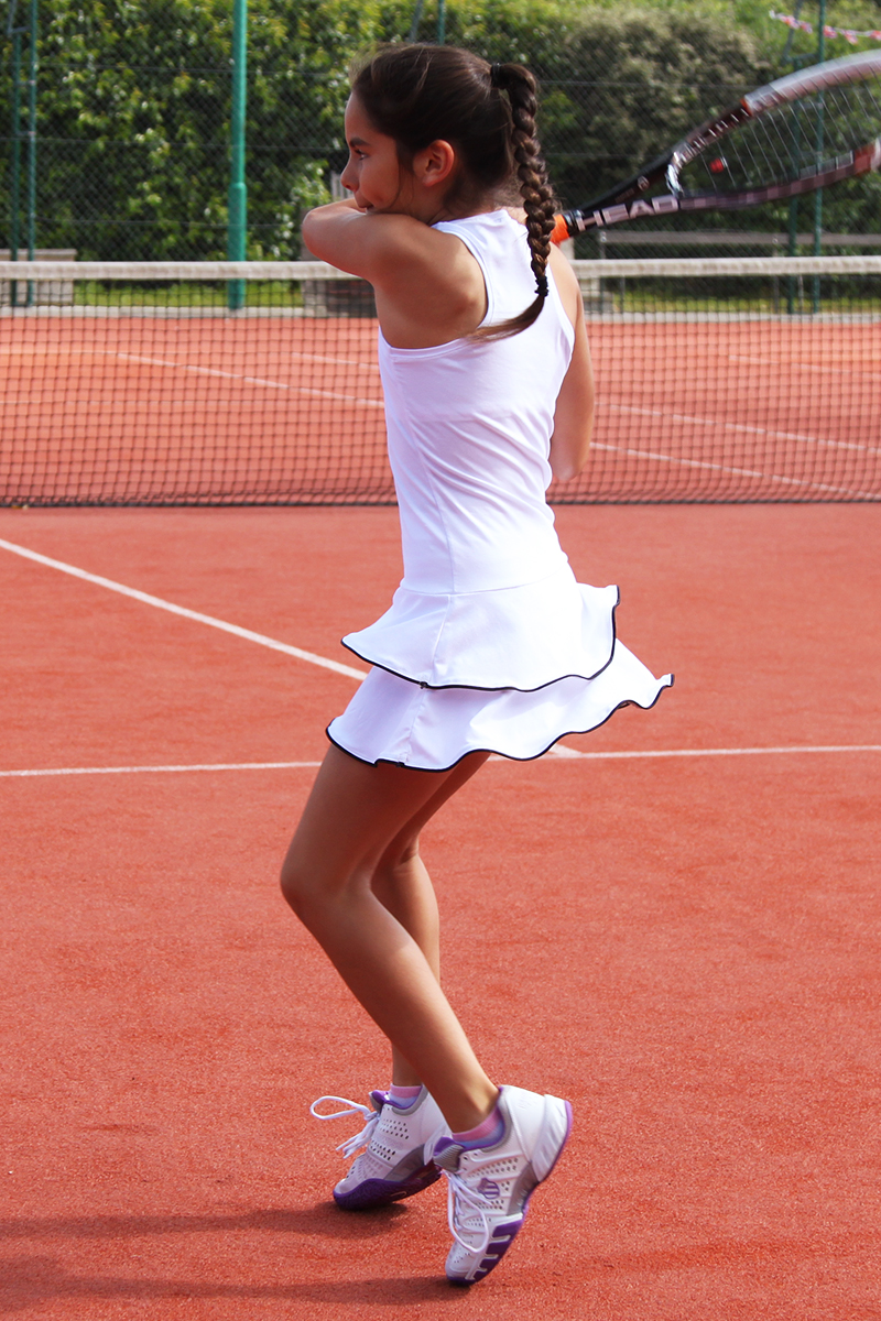 johanna white tennis dress girls with black trim