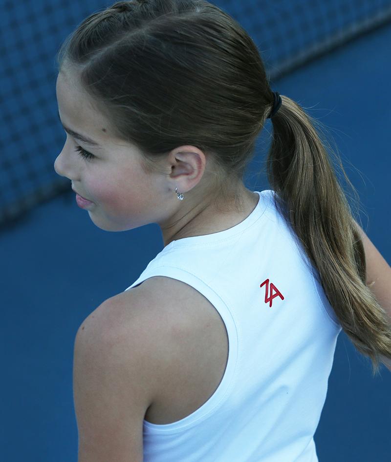 white tennis dress red trim johanna zoe alexander stadia kryk canada