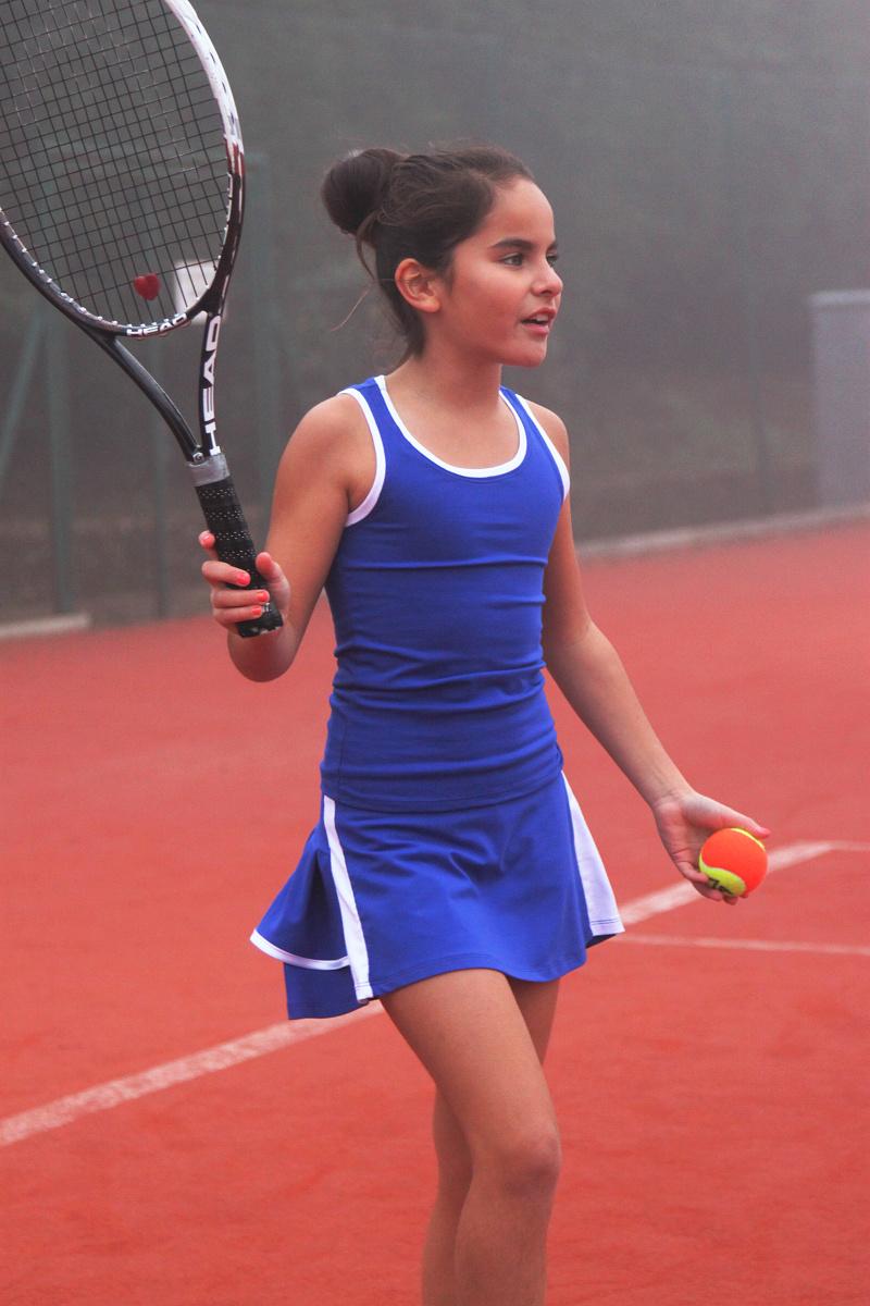 blue tennis top and skirt girls tennis outfit zoe alexander uk