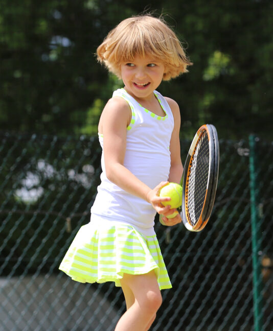 neon white stripe tennis dress outfit zoe alexander