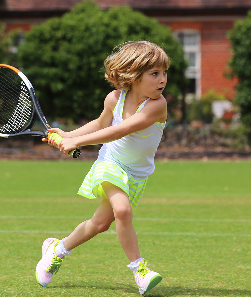 white neon stripe tennis outfit dress by zoe alexander uk