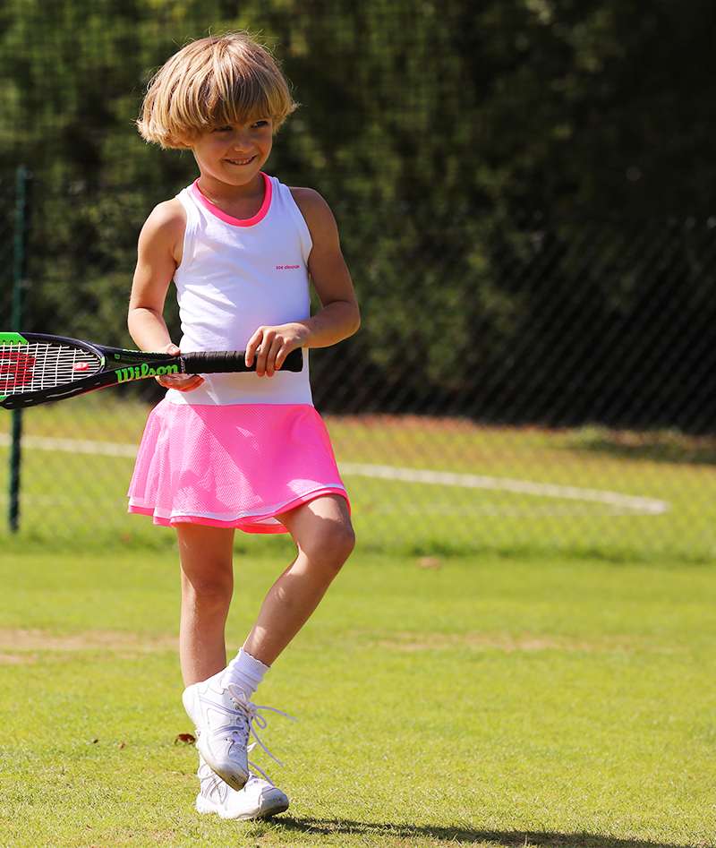 neon white tennis dress Zoe Alexander ZA UK