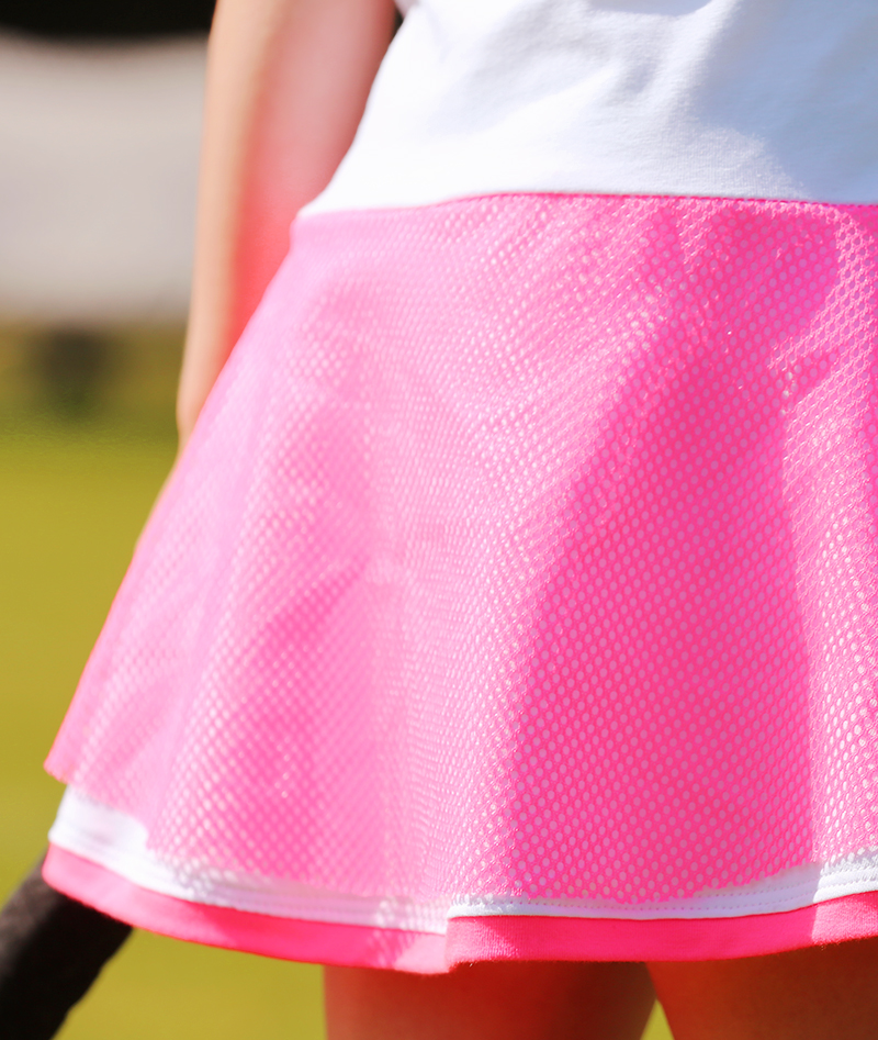 pink neon mesh white tennis dress zoe alexander