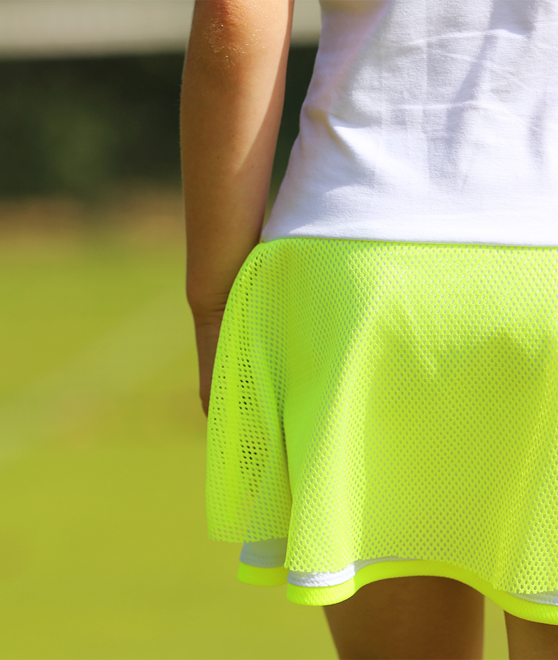 girls tennis apparel designer tennis dresses uk white with neon mesh by zoe alexander