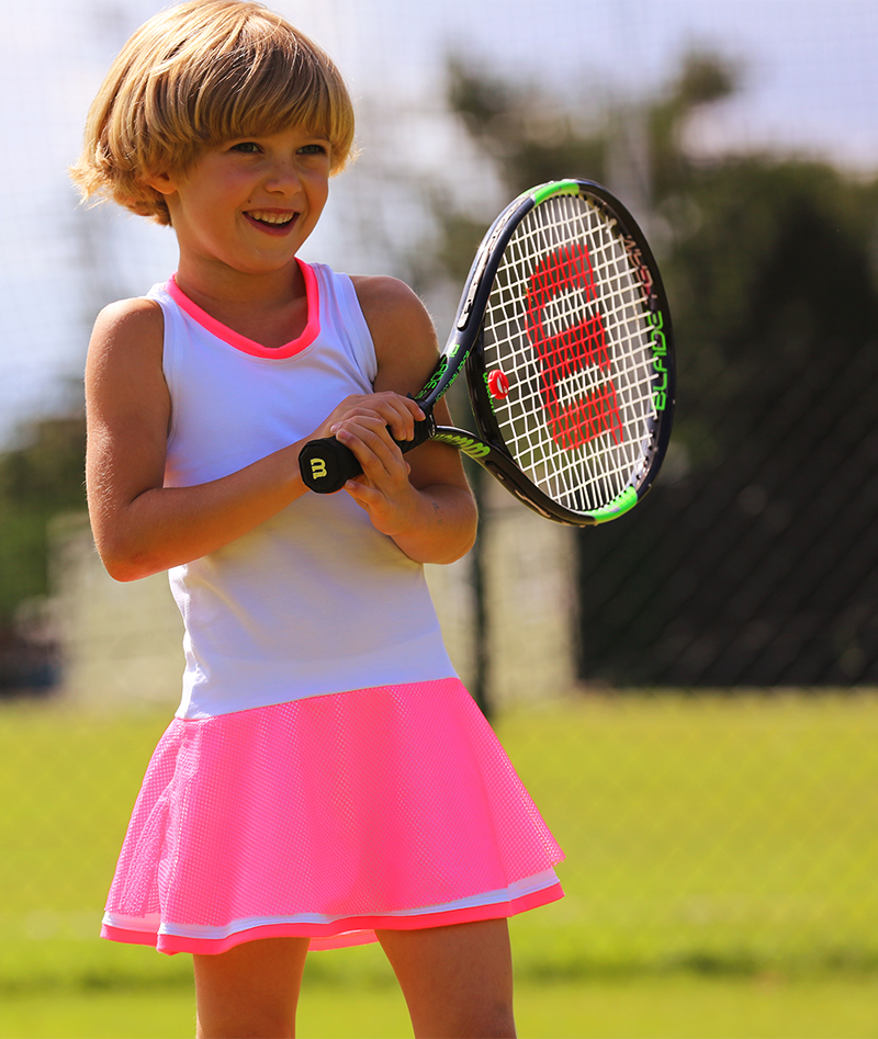 neon pink tennis dress zoe alexander kristyna