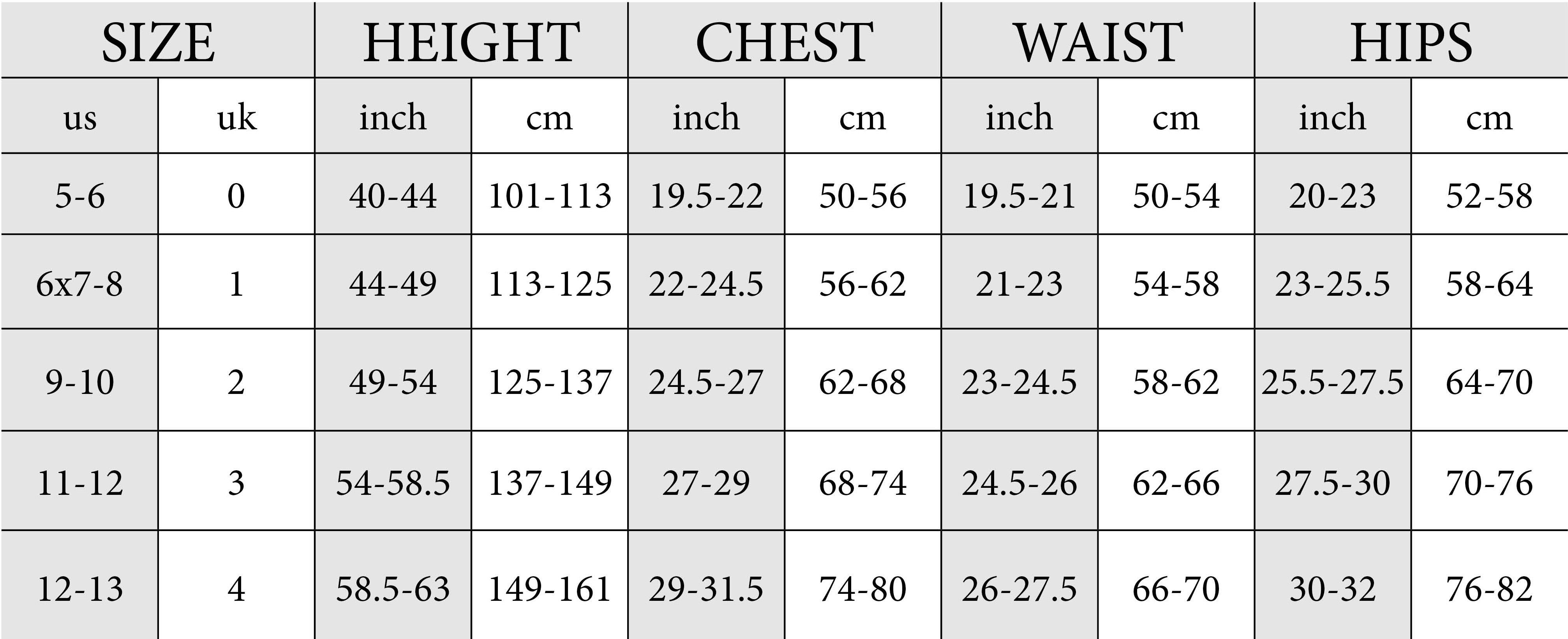 girls size guide chart zoe alexander