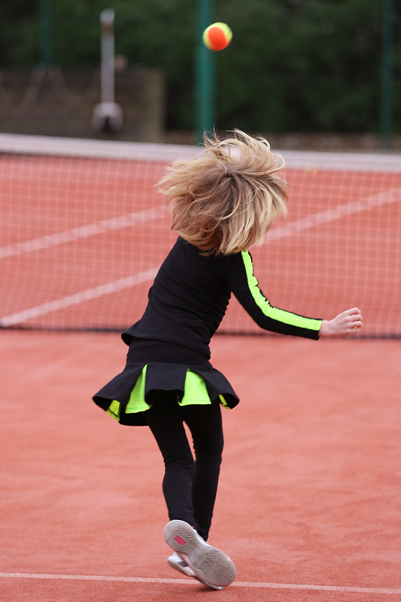 black neon yellow stripe tennis top girls maria porter tennis zoe alexander uk