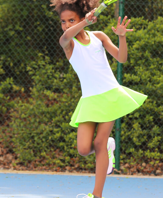 white neon tennis dress zoe alexander