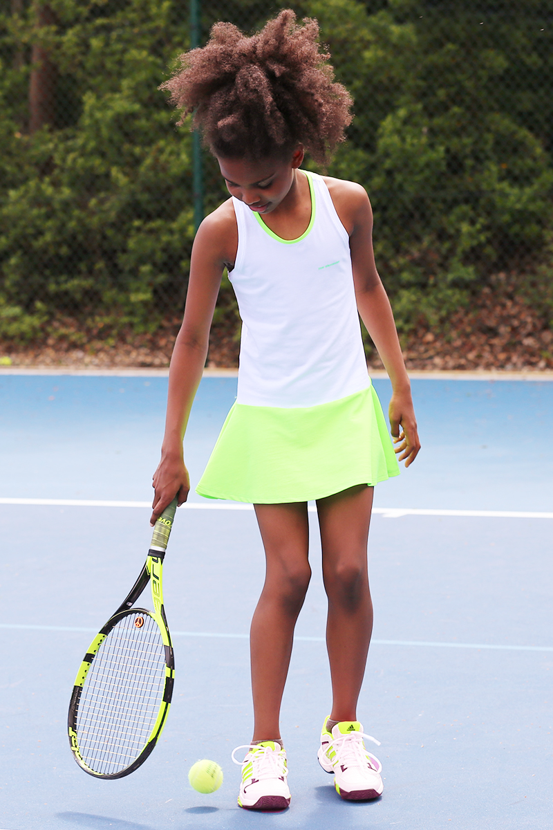 white tennis dresses neon racerback zoe alexander