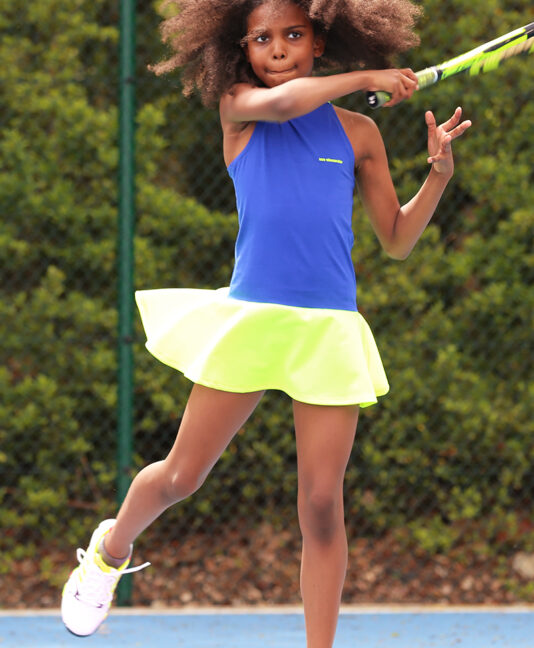 neon tennis dress zoe alexander blue black racer back