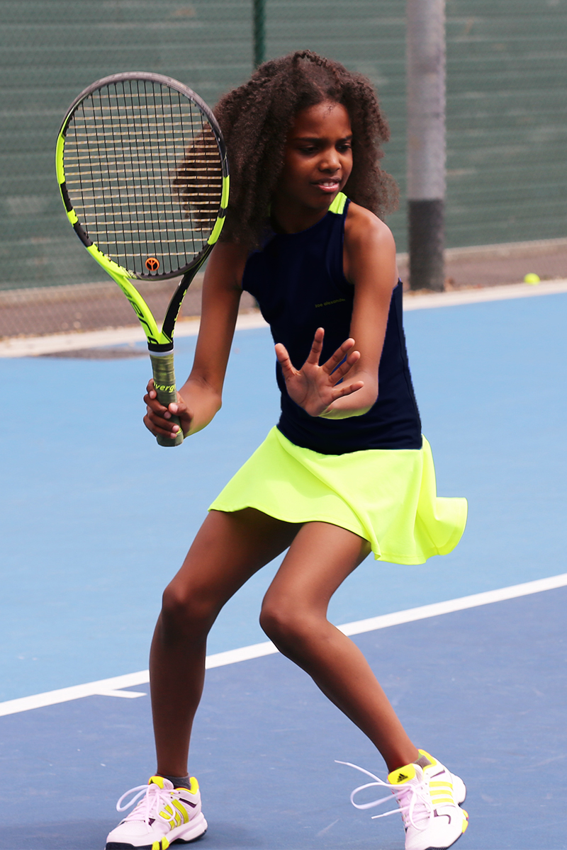 neon racer back tennis dress zoe alexander