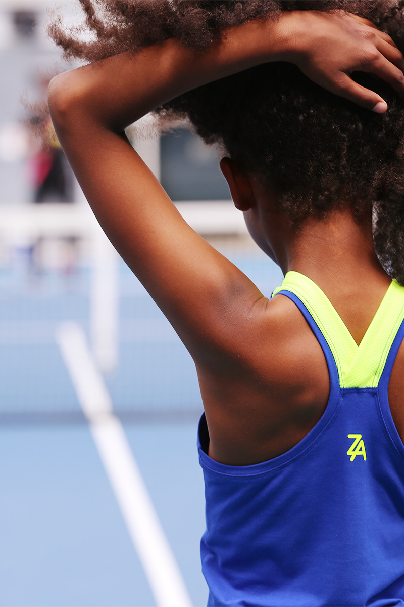 blue neon tennis dress zoe alexander daria