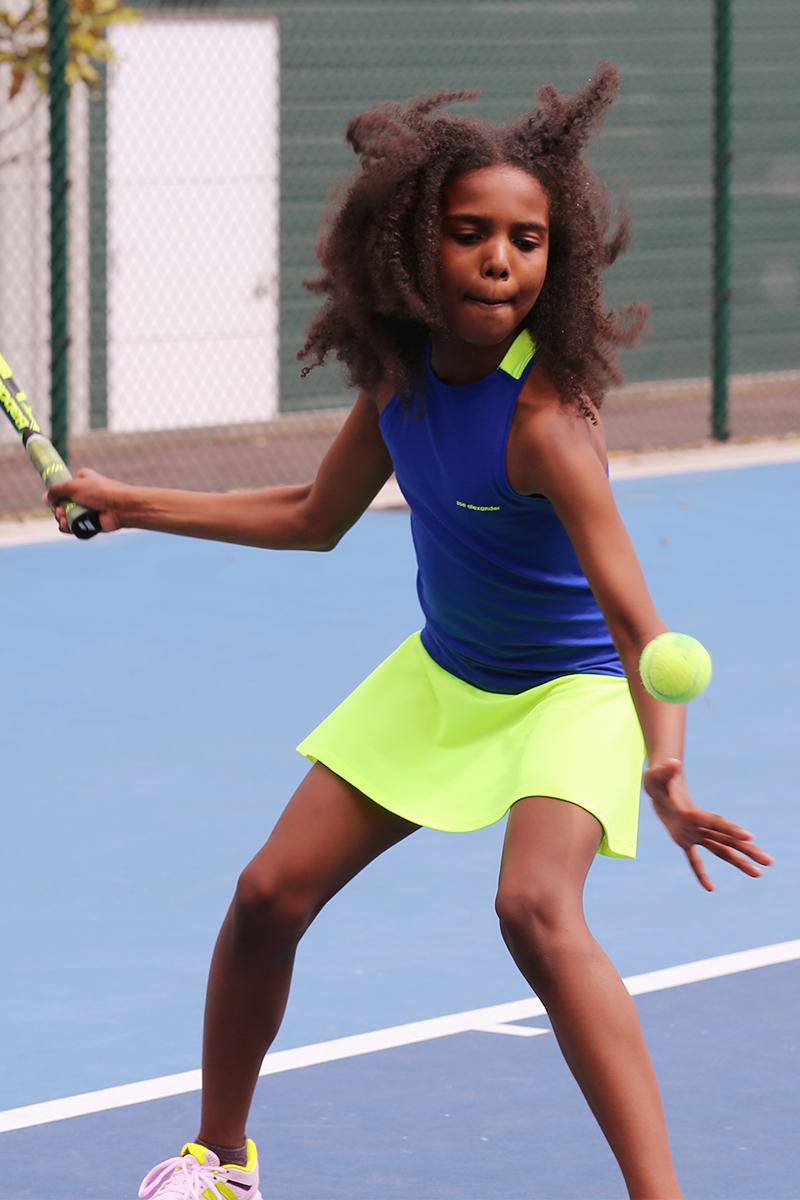 neon blue tennis dress daria by zoe alexander