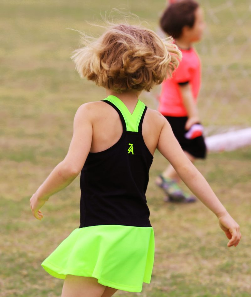 neon and black tennis dress for little girls by zoe alexander
