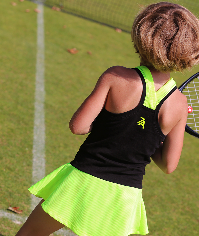black neon tennis dress daria zoe alexander