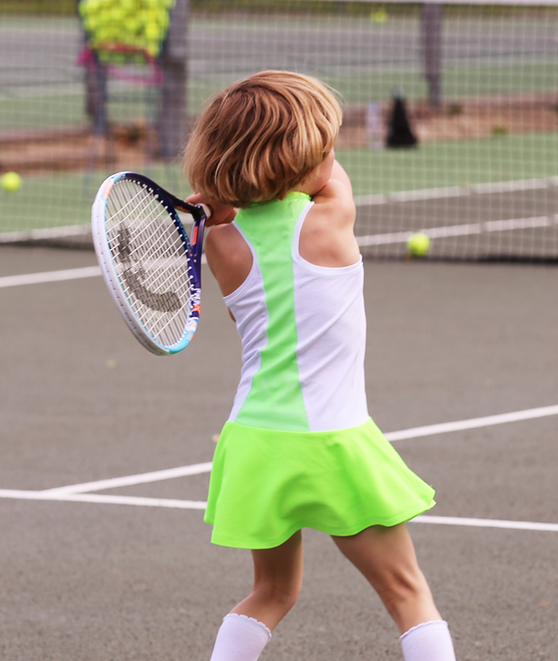 neon and white tennis dress zoe alexander