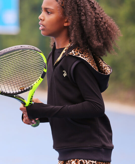 black tennis hoodie with animal print by zoe alexander