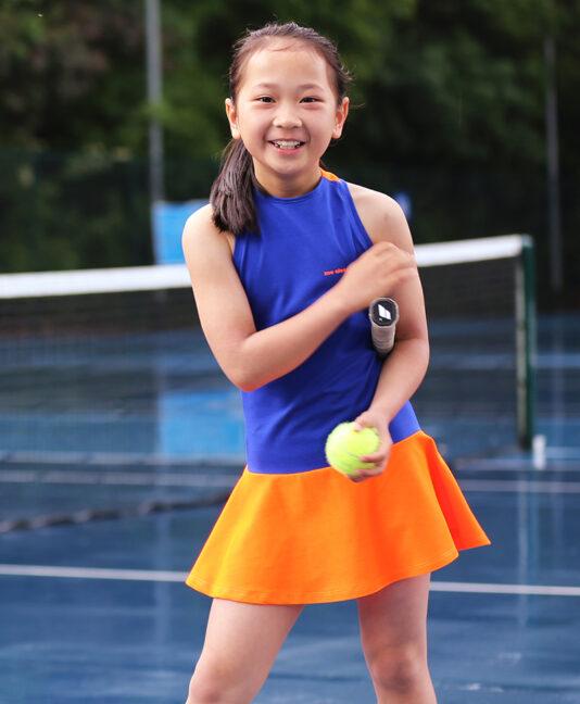 neon orange tennis dress blue daria dress zoe alexander