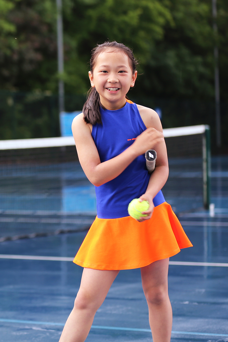 neon orange tennis dress blue daria dress zoe alexander