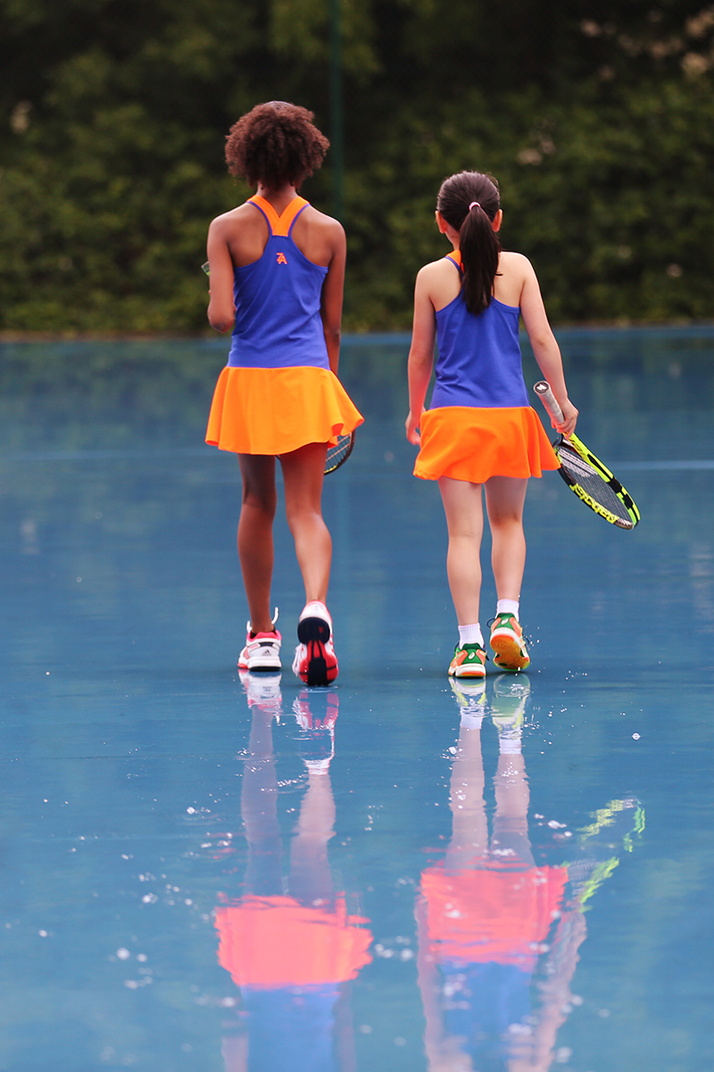 blue neon orange tennis dress zoe alexander daria
