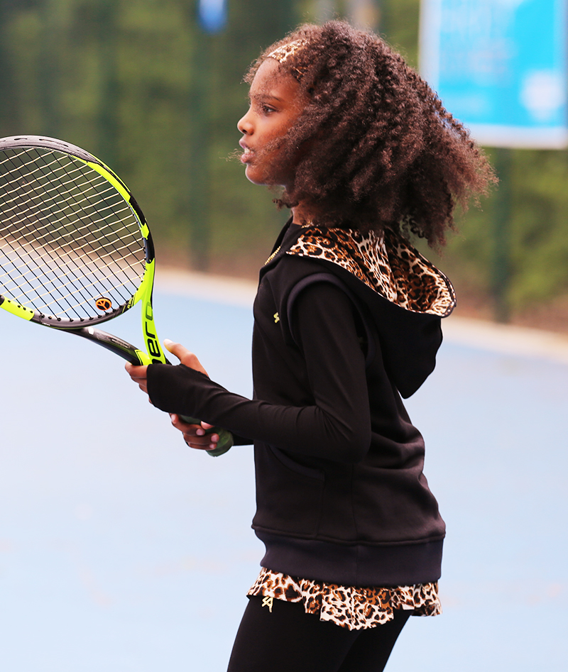 black tennis sleeveless hoodies for girls by zoe alexander