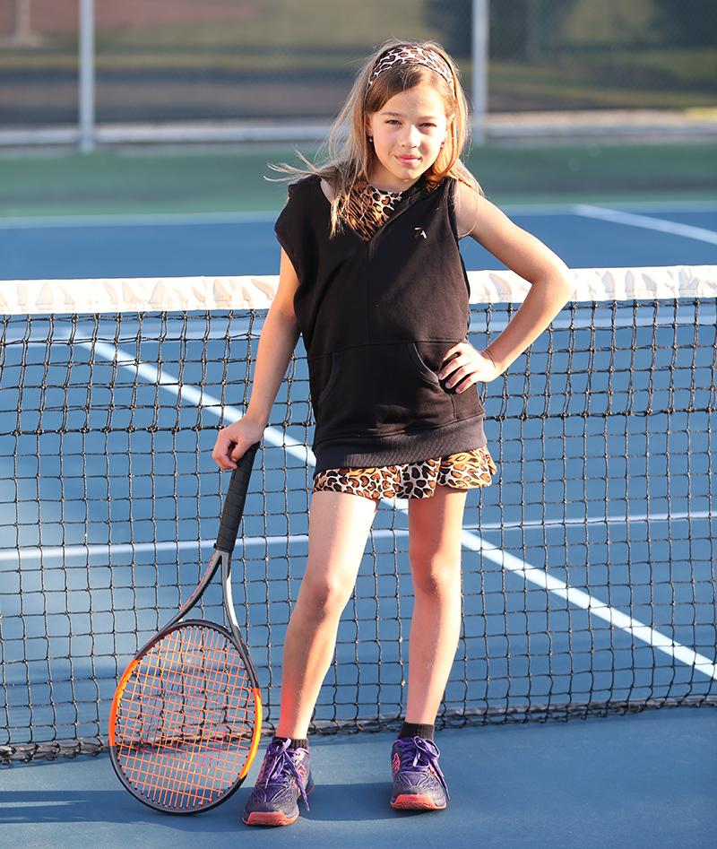 sleeveless black tennis hoodies for girls by zone alexander
