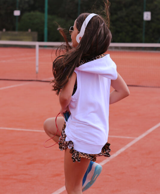 white sleeveless tennis hoody for girls