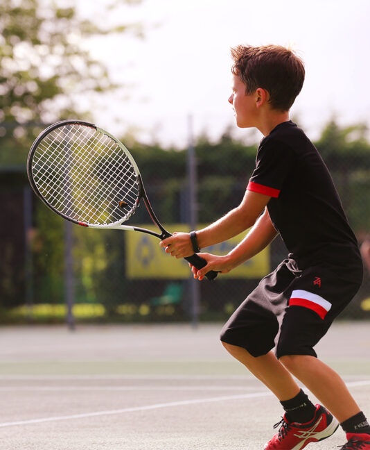 red and black boys tennis outfit by zoe alexander