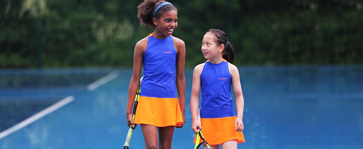neon orange tennis dress daria at bromley tennis centre by zoe alexander
