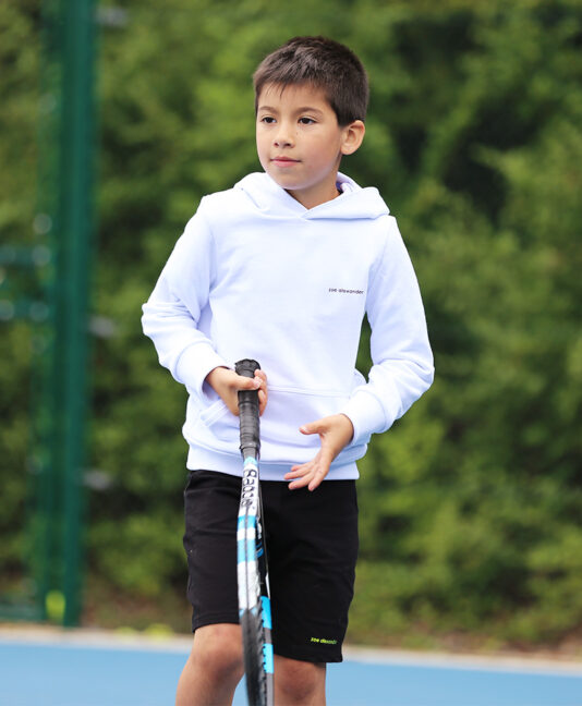 white tennis hoodies for boys by zoe alexander
