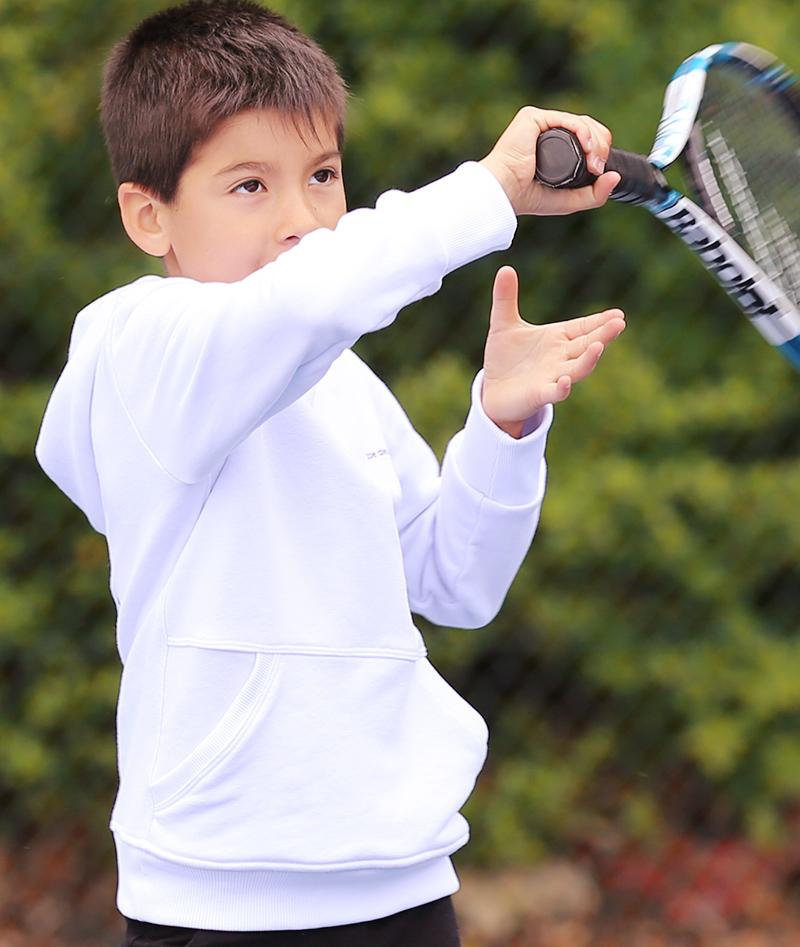 boys white tennis hoody from zoe alexander