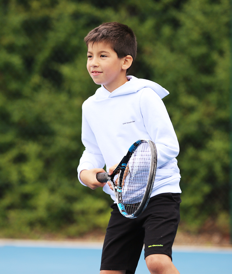 white tennis hoodies boys designed by zoe alexander uk
