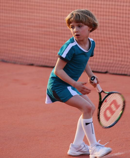 petrol green tennis outfit top and skirt zoe alexander alexa