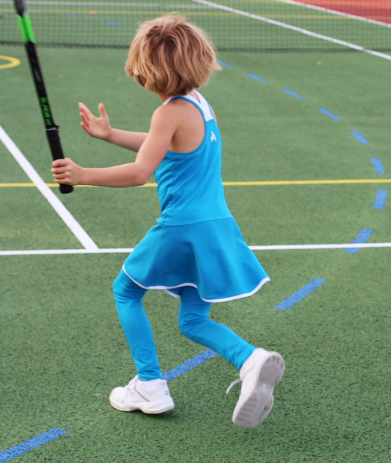 aqua blue tennis leggings for girls by zoe alexander uk