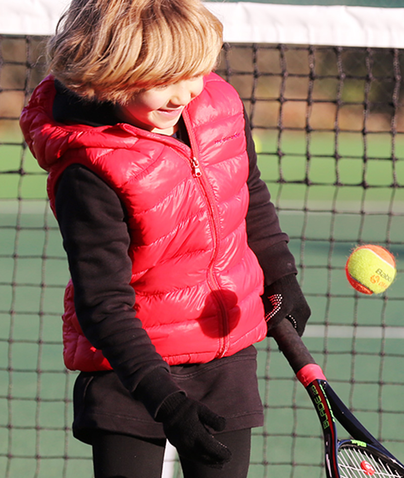 red sleeveless puffa jacket tennis gilet zoe alexander
