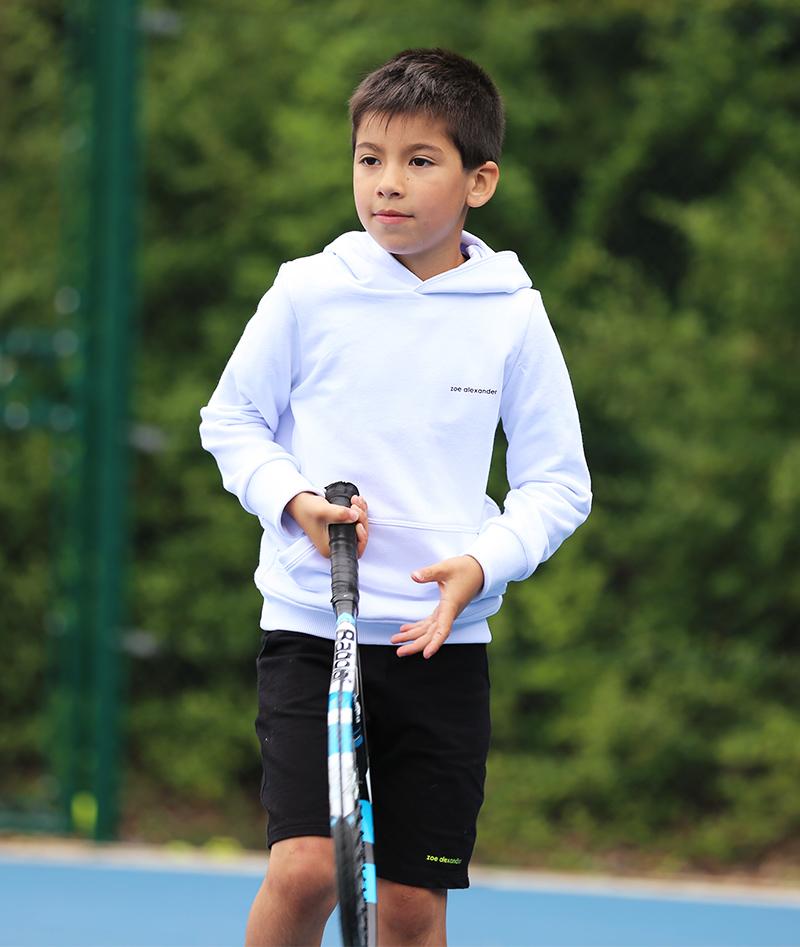boys white tennis hoody zoe alexander