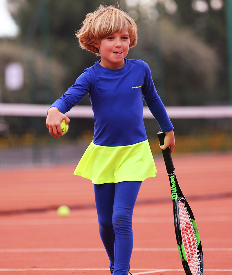 cobalt blue girls tennis leggings in cotton with ball pocket zoe alexander