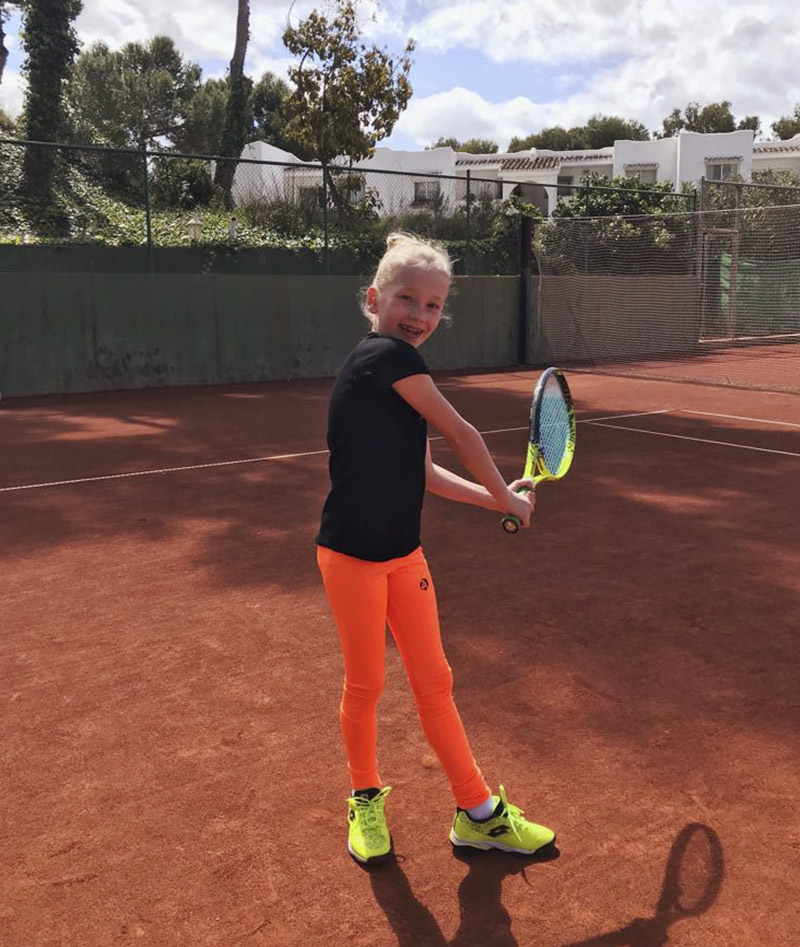 GIRLS NEON LEGGINGS ORANGE TENNIS ZOE ALEXANDER UK ZA