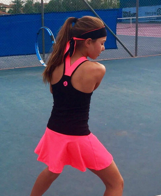 pink black sapir racer back tennis dress zoe alexander