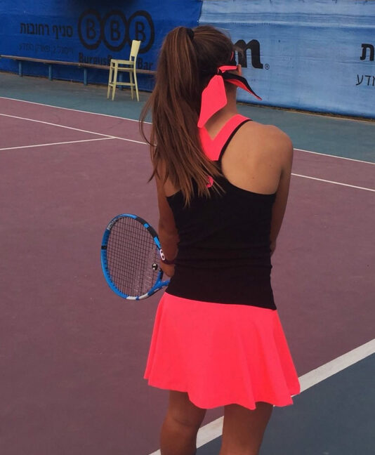 neon pink tennis dress sapir racer back zoe alexander uk
