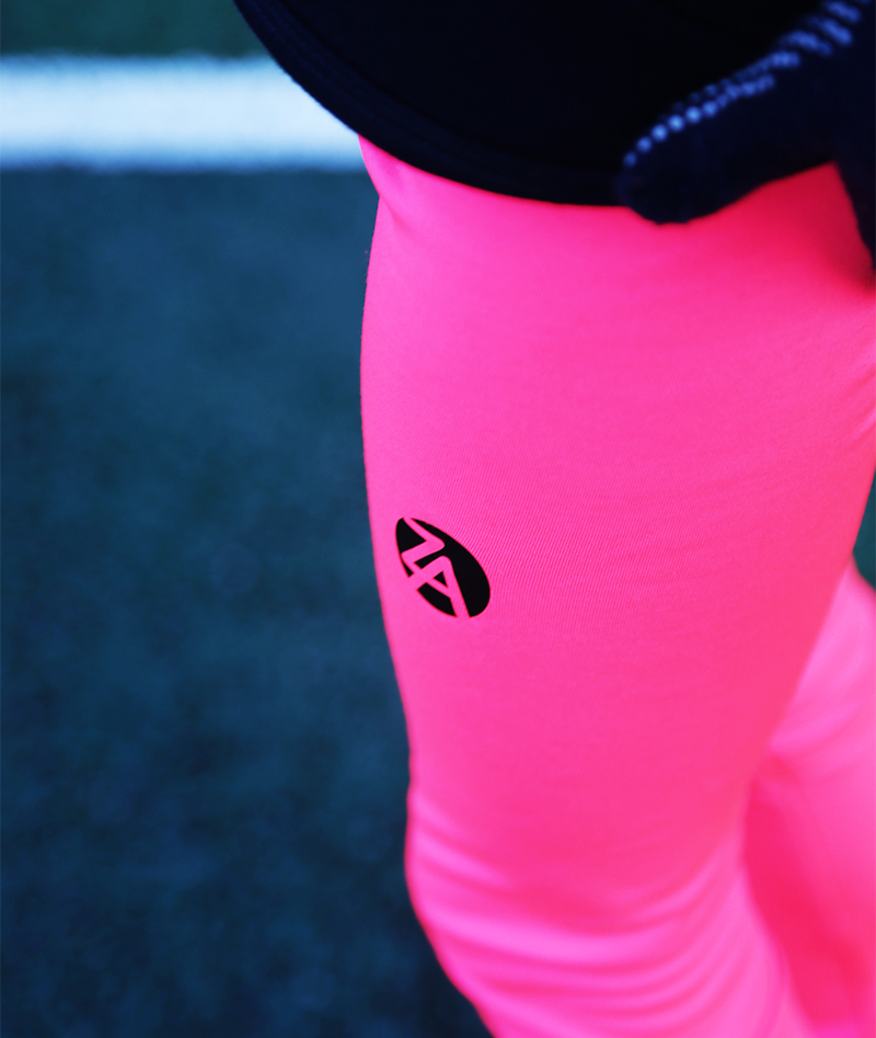 long pink tennis leggings by zoe alexander with ball pocket