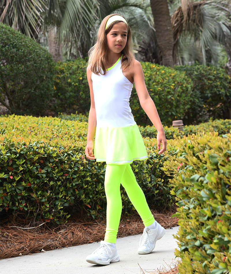 neon yellow tennis leggings with ball pocket zoe alexander