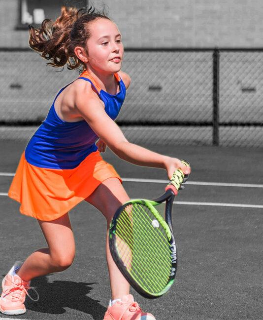 daria blue orange racerback girls tennis dress zoe alexander