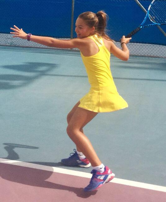 girls yellow tennis dress sunshine us open zoe alexandere