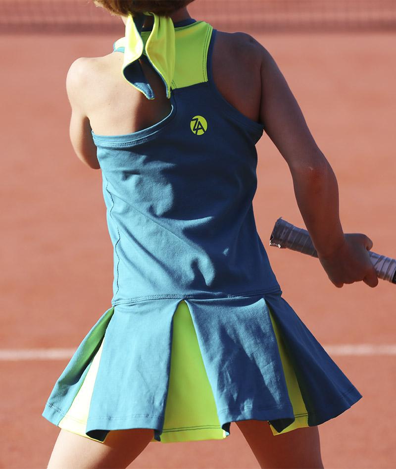 neon and petrol tennis dress for girls zoe alexander uk