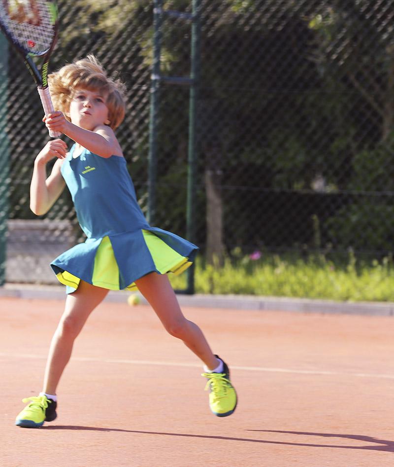 girls tennis dress petrol green neon zoe alexander