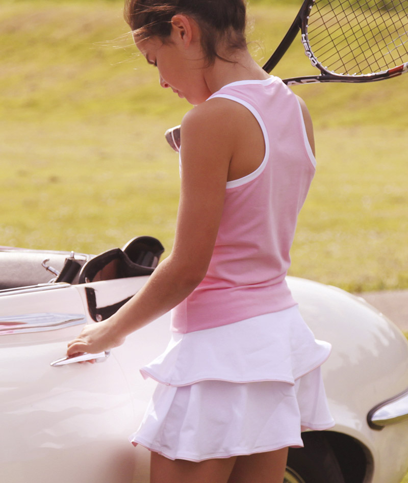 Tennis Clothes for Girls and Junior Tennis Wear for Children, skirts, tshirts, dresses, breathable cotton outfits by Zoe Alexander