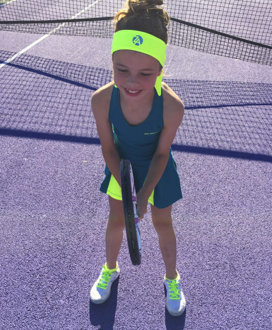 girls tennis headband matching outfit Zoe Alexander uk za neon