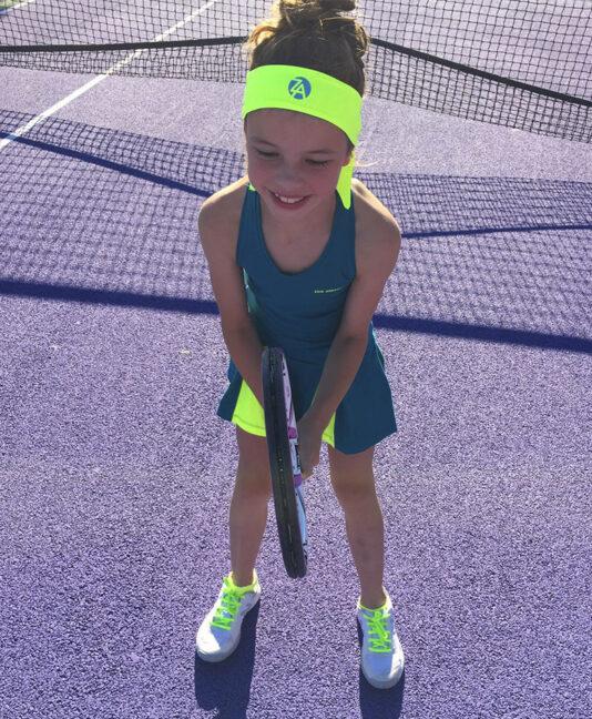 girls tennis headband matching outfit Zoe Alexander uk za neon